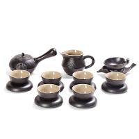 家用黑陶粗陶日式复古功夫茶具整套装办公室茶杯陶瓷茶壶礼盒茶道