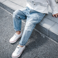【尾品汇3件3折】帕丁猫童装2018秋季新款男童女童韩版休闲牛仔裤