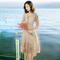 夏季新品韩版女装五分袖系带中长裙雪纺连衣裙海边度假沙滩裙 图片色XZA599