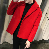 新款短款呢子外套男士韩版修身短款西装领毛呢大衣男装发型师潮流