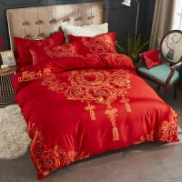 新婚喜庆床上用品婚庆全棉纯棉四件套大红色结婚床品套件婚礼礼物 西瓜红 六件套