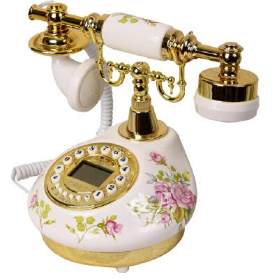 陶瓷田园仿古电话机家用卧室欧式复古固定电话客厅座机