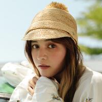 邪恶先生手工钩针毛球拉菲草骑士帽子女马术帽夏天沙滩鸭舌帽 M(56-58cm)