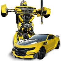 儿童遥控变形金刚玩具汽车声控感应模型机器人超大男孩玩具