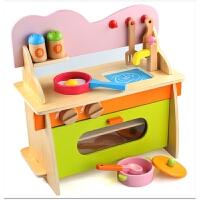 木制仿真煤气灶台 宝宝做饭厨具玩具 2岁以上儿童厨房过家家玩具