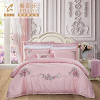 富安娜家纺 馨而乐精美素绣40S斜纹床品套件 1.5/1.8m床适用床上用品床单被罩