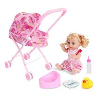 20180528035247354儿童玩具女孩过家家带娃娃小推车套装女童仿真婴儿宝宝手推车礼物 草莓车+55声喝水尿尿