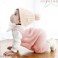 新生婴儿儿衣服秋冬0-3个月婴幼儿0一1岁针织宝宝加绒背带裤2