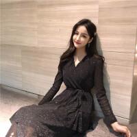 朴衣尚 春夏气质bling2019春装性感礼服黑色V领连衣裙长裙女蛋糕裙