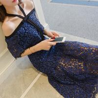 蕾丝连衣裙女士夏季新名媛中长露肩性感修身显瘦一字肩