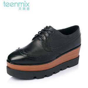 Teenmix/天美意春季专柜同款打蜡牛皮满帮女单鞋6D920AM6