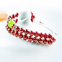 时尚饰品水晶手链DIY单圈手链 送女友礼品红石榴石水晶手链女