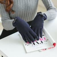 韩版手套女冬季可爱保暖开车分指触屏棉手套加绒加厚骑车手套学生