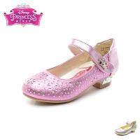 迪士尼Disney童鞋18新款儿童皮鞋甜美女童时装鞋闪钻镂空学生鞋(5-10岁可选) FS1005