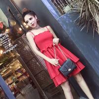 夏装新款洋气性感女神礼服裙抹胸松紧无袖吊带大摆连衣裙