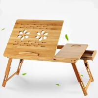 门扉 电脑桌 楠竹笔记本电脑桌床上懒人桌折叠书桌带风扇大小号多功能折叠收纳