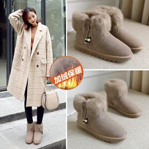 ZHR兔毛雪地靴女加绒短靴真皮平底女靴子短筒棉鞋2018冬季新款