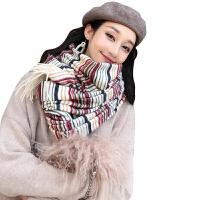 围巾女秋冬季韩版百搭长款条纹加厚毛线披肩两用加厚保暖围脖