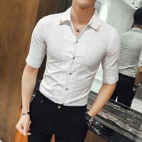 夏季新款型男短袖衬衫潮流韩版夜店发型师修身七分袖中袖衬衣