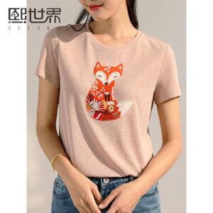 熙世界俏皮减龄短袖T恤2019夏季新款活泼狐狸刺绣宽松体恤上衣女