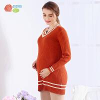 贝贝怡孕妇装韩版V领中长款针织打底衫秋冬装新款怀孕期毛线衣