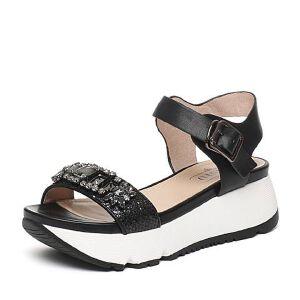 BASTO/百思图夏季专柜同款牛皮/布时尚休闲舒适女凉鞋16B22BL6