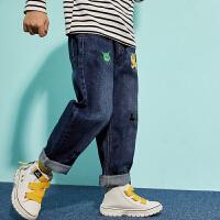 【1件4折:102】巴拉巴拉旗下男童牛仔裤儿童卡通裤子2020春装新款韩版男孩长裤男