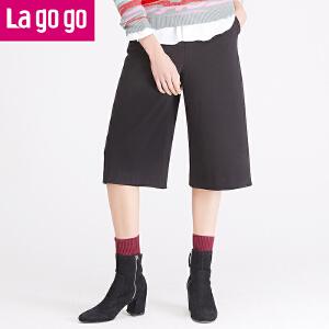 Lagogo拉谷谷冬季新款女装阔腿裤女裤七分裤裤子休闲裤