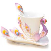 奇宝居 陶瓷珐琅瓷 孔雀杯咖啡杯 凤凰情侣对杯创意水杯