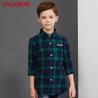 鸭鸭(YAYA)童装男童长袖衬衫秋冬新款中大儿童格子时尚衬衣休闲上衣