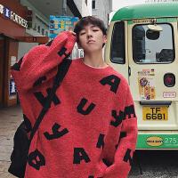 秋冬韩版男士针织衫字母复古毛线衣圆领宽松套头加厚毛衣外套