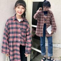 加肥加大码女装200斤胖mm春夏季韩版宽松显瘦POLO领长袖格子衬衫