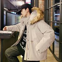 冬季新款韩版加宽松工装棉衣男式拆卸连帽棉袄保暖大码棉服外套潮
