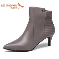 红蜻蜓女靴18冬季新款中跟尖头短靴女保暖真皮细跟深口窝窝鞋女