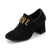 星期六(ST&SAT)秋季绒面羊皮革字母粗跟时尚百搭裸靴SS83112250 黑色