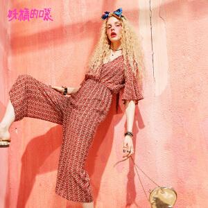 妖精的口袋2018新款时尚长裤chic连体裤时髦欧货九分裤女
