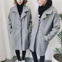 新款情侣装风衣宽松休闲中长款呢大衣冬季男女青年羊毛呢简约外套