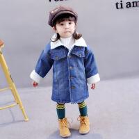 宝宝牛仔棉衣冬装1-2-3-4岁女童加棉加绒外套儿童5女小童冬季