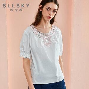 熙世界夏装新款圆领套头短袖泡泡袖蕾丝拼接宽松衬衫女装112SC019