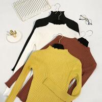 冬装新款女装木耳边套头纯色长袖毛衣修身打底针织衫E164