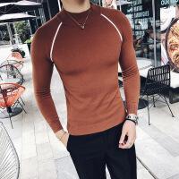 秋冬款 韩版男士打底半高领针织衫毛衣时尚商务纯色修身中领毛衣