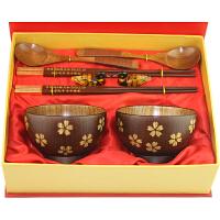 碗送闺蜜结婚礼物摆件创意实用新婚礼品送女友新奇创意礼品送客户 红檀木筷+樱花碗