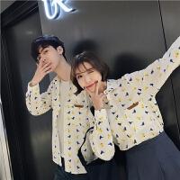 2018男士潮流长袖潮流春秋季新款印花宽松长袖衬衫韩版男女情侣