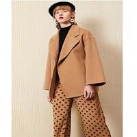 【节前让利 满399减50】全羊毛毛呢大衣女士拉夏贝尔冬季新款系带小个子短款呢子外套