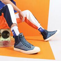 骆驼男鞋2019秋季新款高帮帆布鞋男潮流时尚百搭板鞋男韩版透气鞋