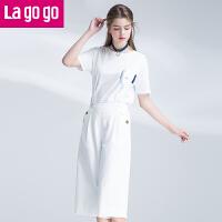 Lagogo2017夏季新款纯色阔腿裤雪纺背带裤女宽松高腰休闲裤七分裤