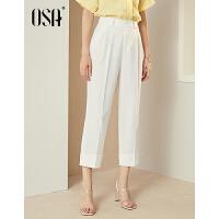 【2.5折到手价:90.3】OSA欧莎2019夏装新款女装 时尚O白色显瘦九分休闲裤