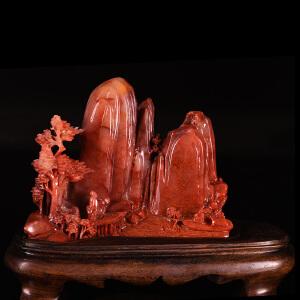 《乐在其中摆件》天然寿山高山石带桃花洞全手工精雕