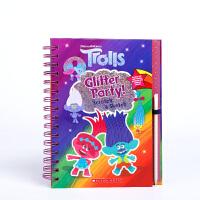 宝宝低幼启蒙工具书 刮刮乐魔法:闪光派对Trolls: Scratch Magic: Glitter Party!英文原