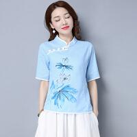 春夏新款中式改良茶服民族风复古棉麻女装印花上衣短袖T恤